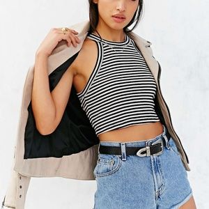 UO Truly Madly Deeply Striped Halter Crop Top